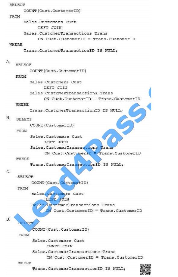 lead4pass 70-761 exam question q22